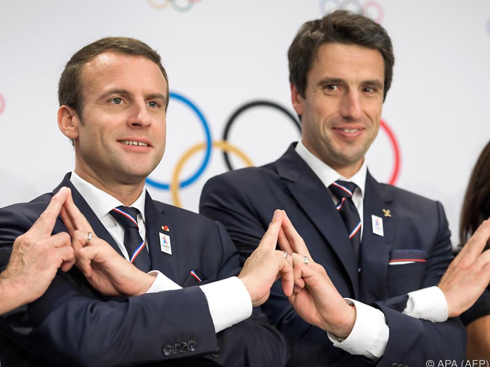 Frankreichs Präsident Macron wirbt für die Olympia-Bewerbung von Paris
