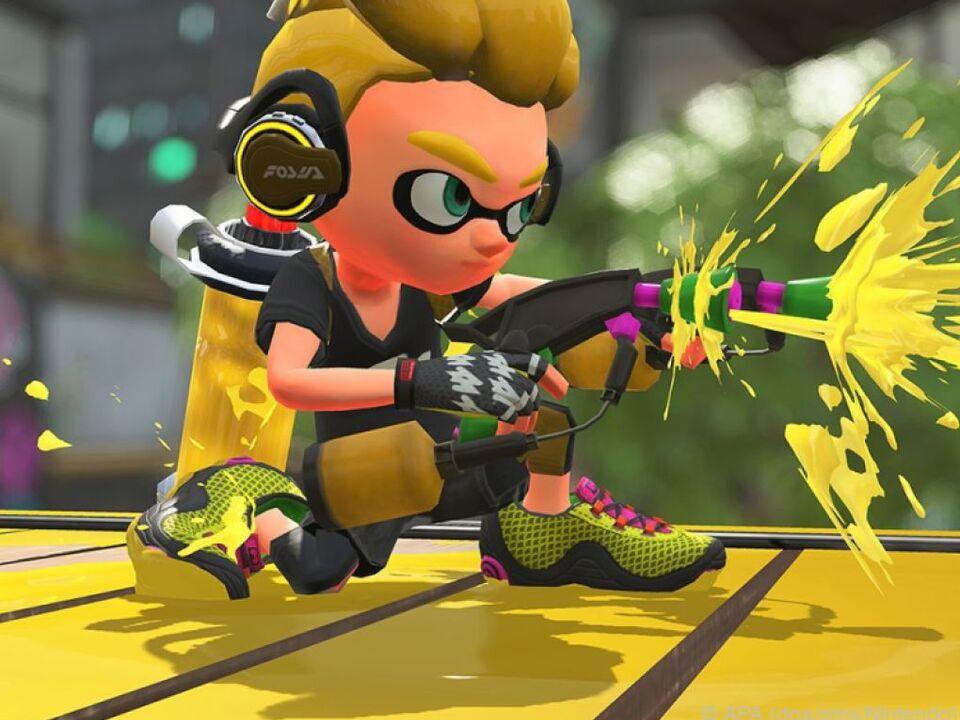 Feuer frei: Hier sieht man Team Gelb an der Farbkanone