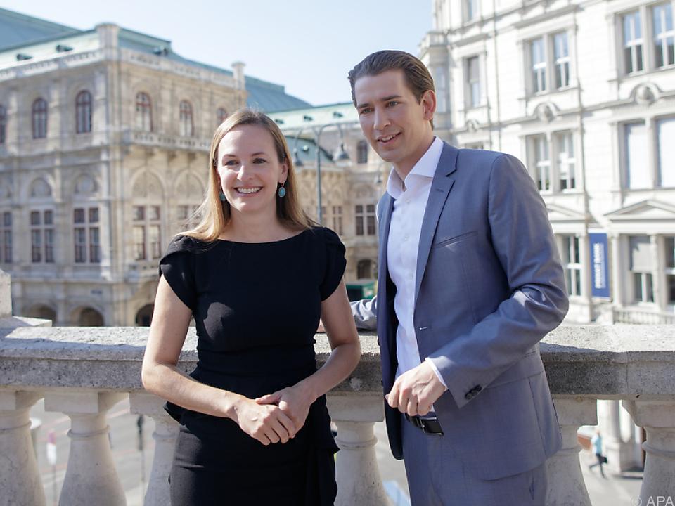 Maria Großbauer und Sebastian Kurz bei der Präsentation