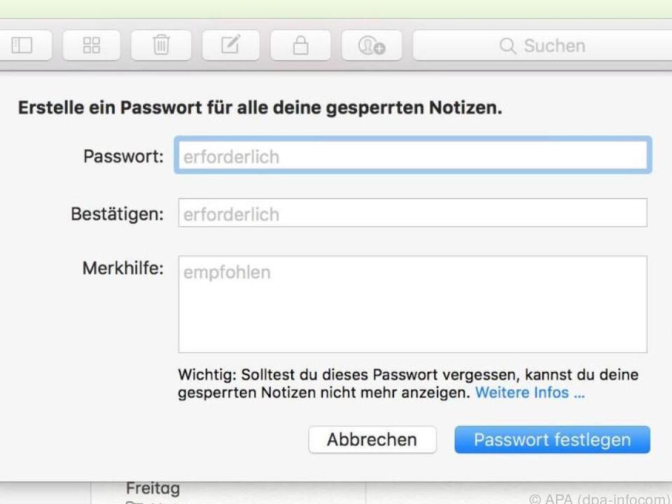 Mehr Diskretion bei Apple-Notizen - so geht\'s