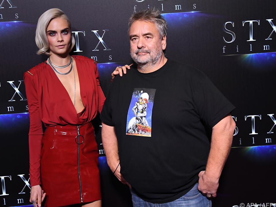 Regisseur Besson mit Hauptdarstellerin Cara Delevingne