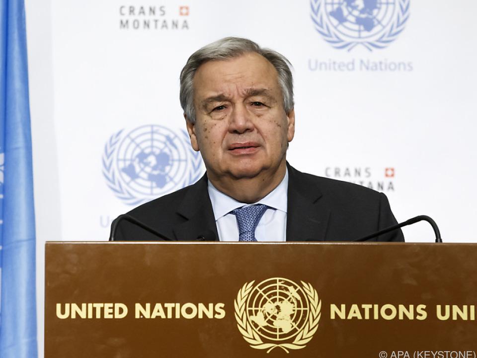 UNO-Generalsekretär Guterres sichtlich enttäuscht und besorgt