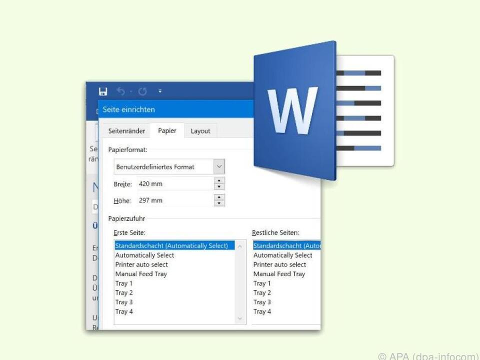 Word-Nutzer können mit einigen Klicks ihr eigenes Papierformat festlegen