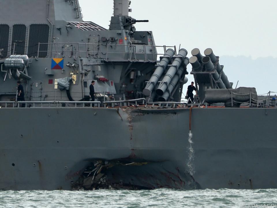 Das Kriegsschiff wurde im hinteren Bereich zerstört