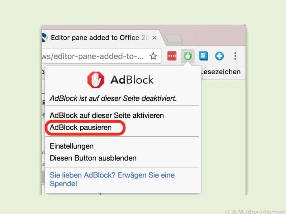Eine Adblock-Software lässt sich wenigen Klicks wieder abschalten