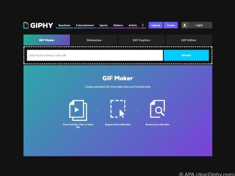 Giphy.com stellt Nutzern einen kostenlosen GIF Maker zur Verfügung