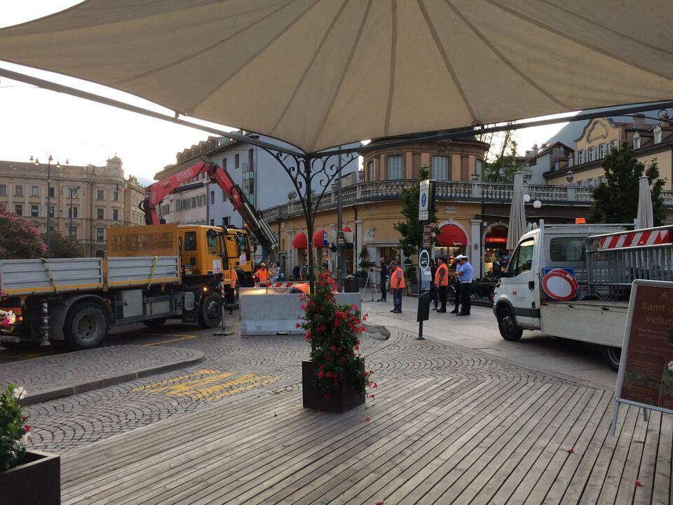 Betonbarrieren Altstadtfest Bozen