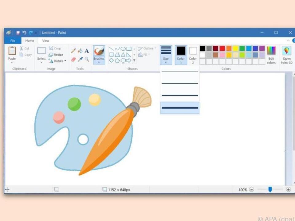 MS-Paint hält mehr als vier Pinselgrößen bereit