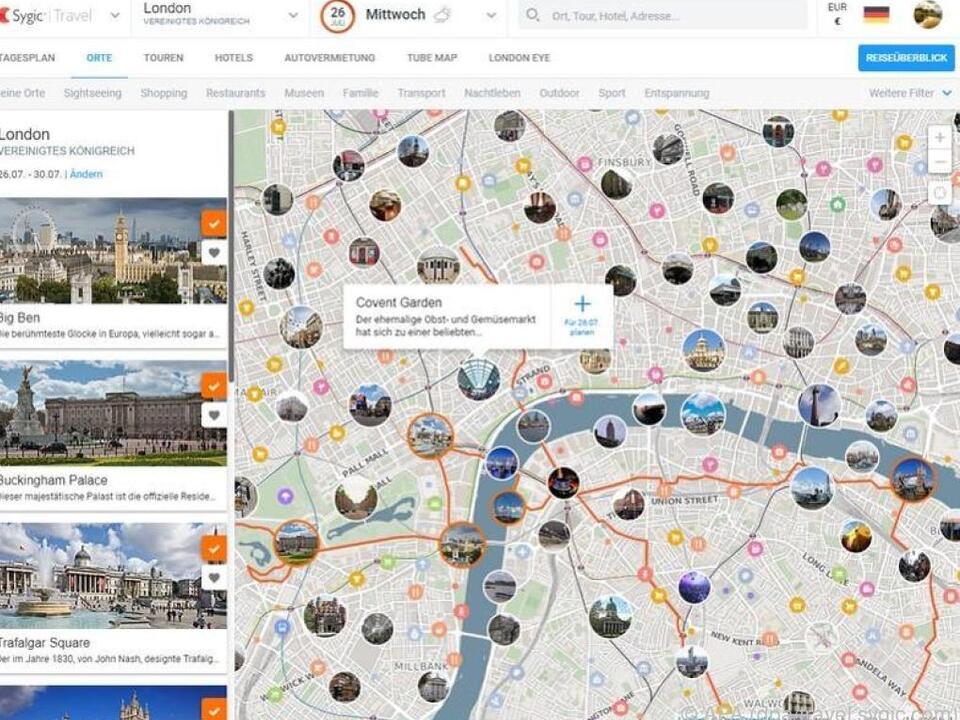 Sygic Travel zeigt London-Besuchern interessante Sehenswürdigkeiten an