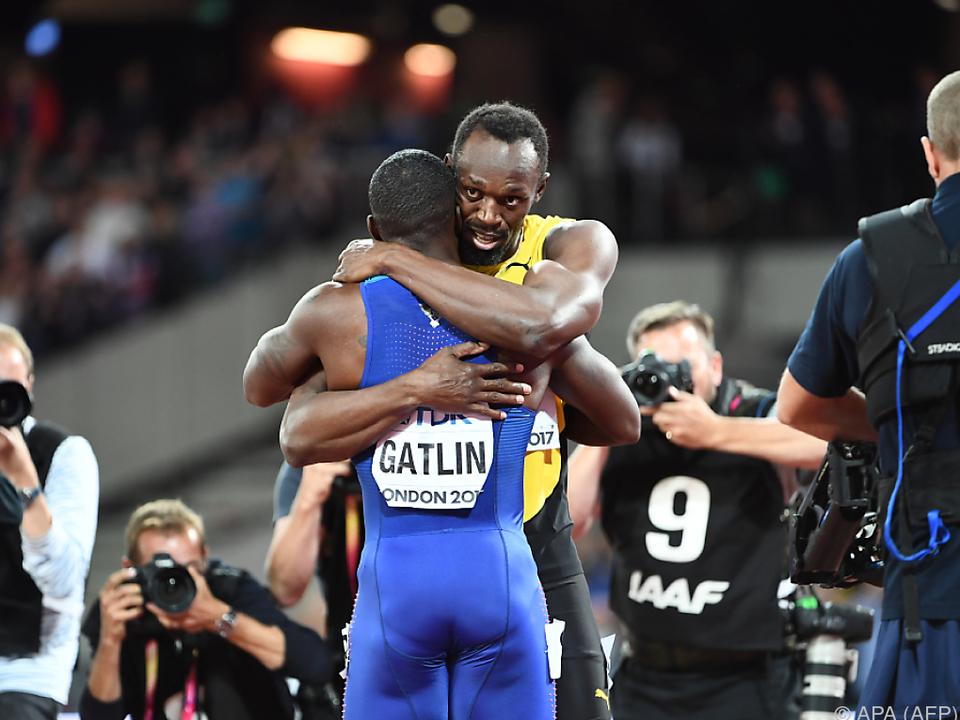 Usain Bolt gratuliert dem neuen Weltmeister Gatlin