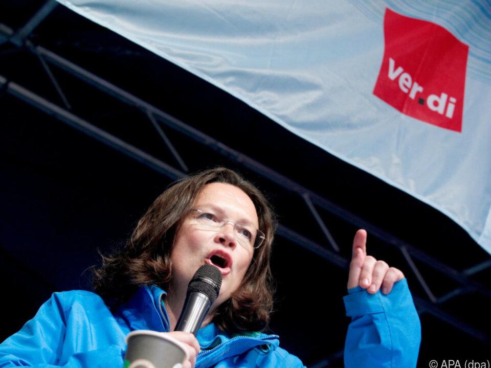 Auch Andrea Nahles war bei der Kundgebung dabei