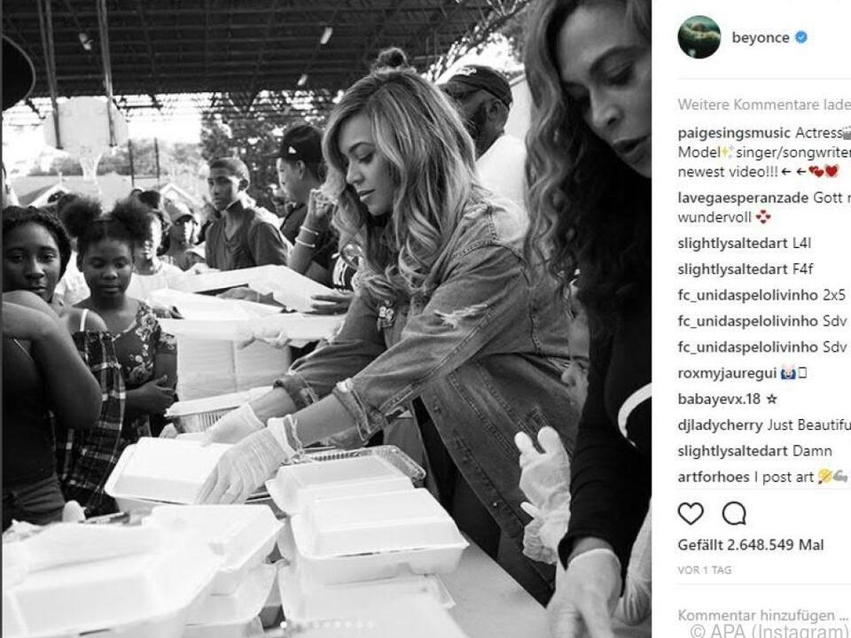 Beyonce verteilte Essen an Hurrikan-Opfer