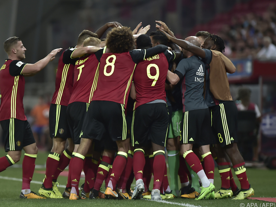 Die Belgier feiern die WM-Teilnahme