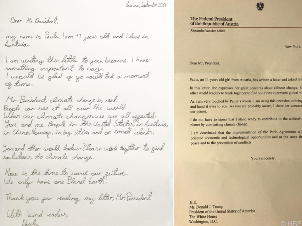 Die elfjährige Paula schrieb an den US-Präsidenten
