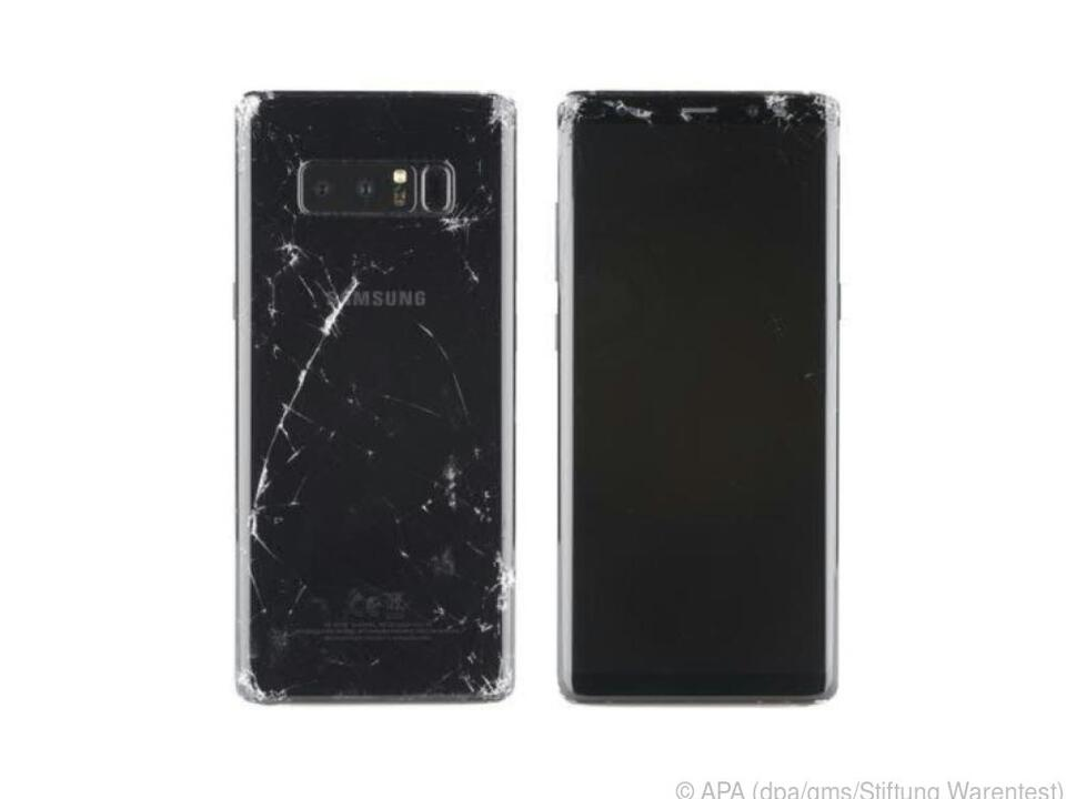 Die Falltrommel hat das Samsung Galaxy Note 8 nicht gut überstanden