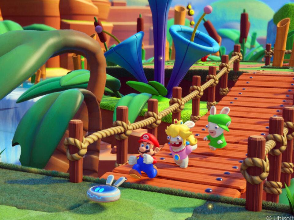 Die Truppe besteht zu Beginn aus Mario, Rabbid Peach und Rabbid Luigi
