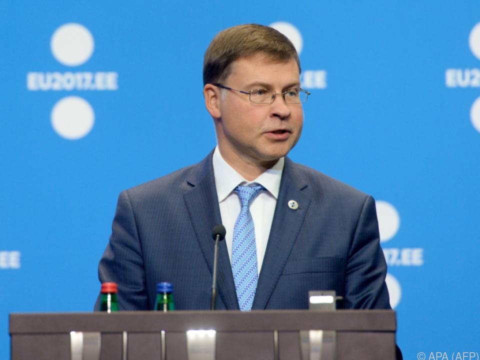 EU-Kommissar Valdis Dombrovskis will \