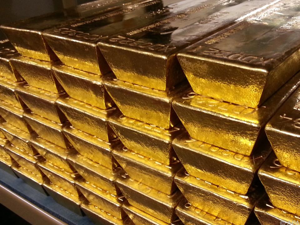 Goldbarren im Tresorraum der Österreichischen Nationalbank