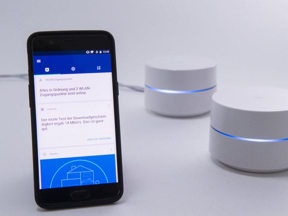 Google Wifi dient zum Anschluss an DSL-, Kabel- oder Glasfasermodems