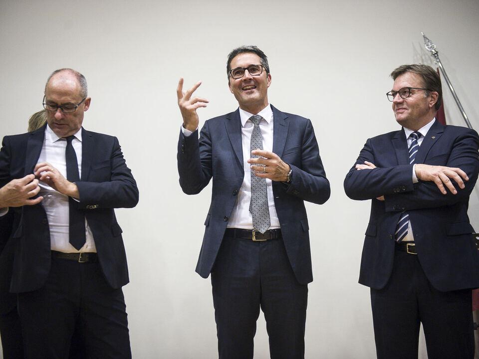 Die drei Euregio-Präsidenten in Brüssel: Rossi, Kompatscher, Platter - Foto: LPA/Wiktor Dabkowski