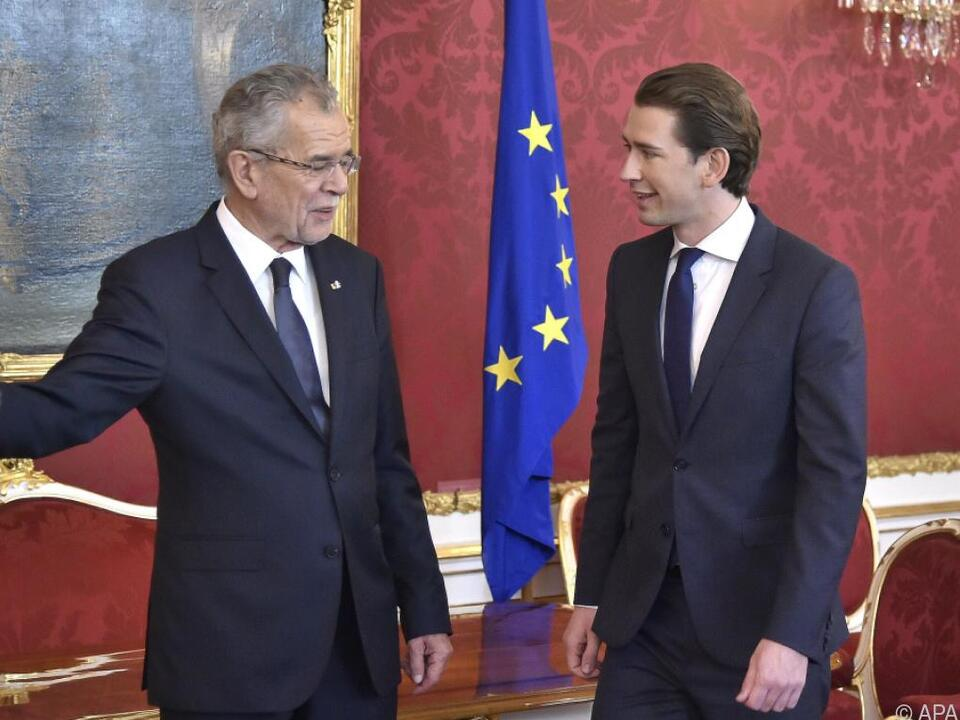 Bundespräsident Van der Bellen empfing ÖVP-Chef Sebastian Kurz