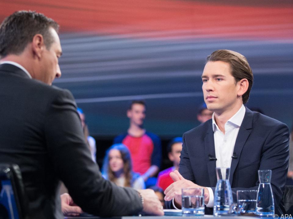 Strache und Kurz im ORF-TV-Duell