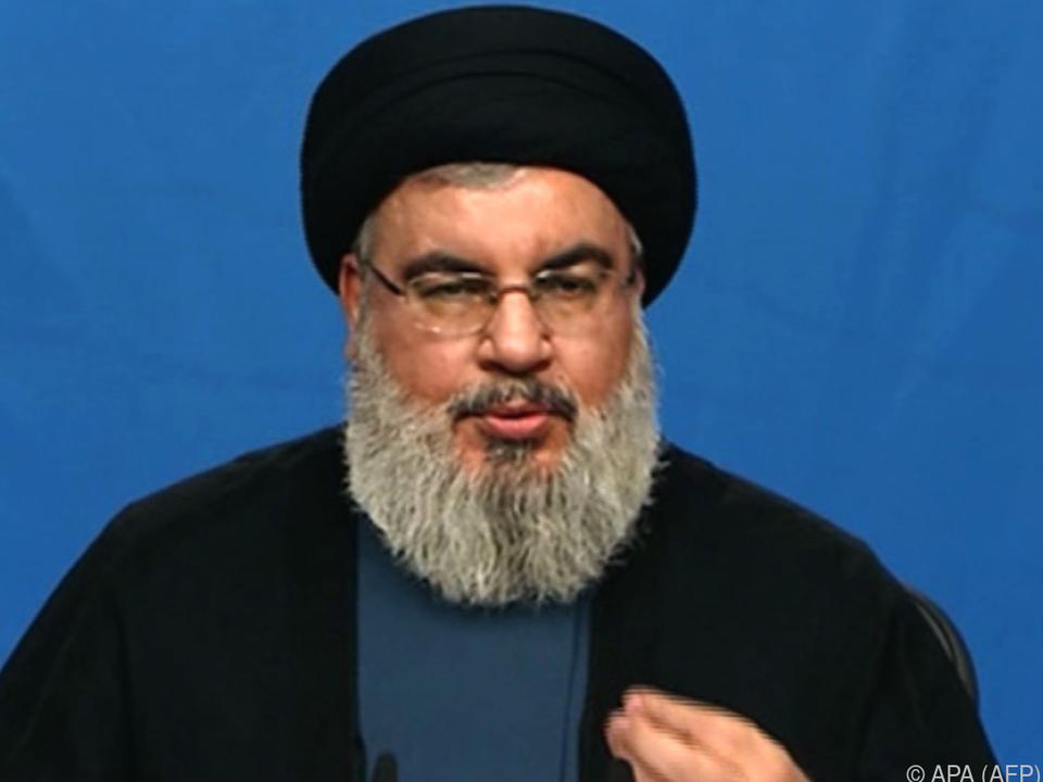 Hassan Nasrallah bei einer Erklärung via TV