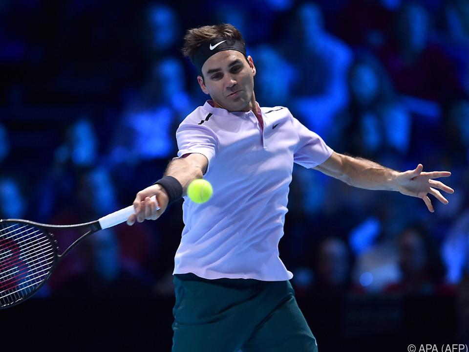 Roger Federer gewann auch sein drittes Gruppenspiel in London