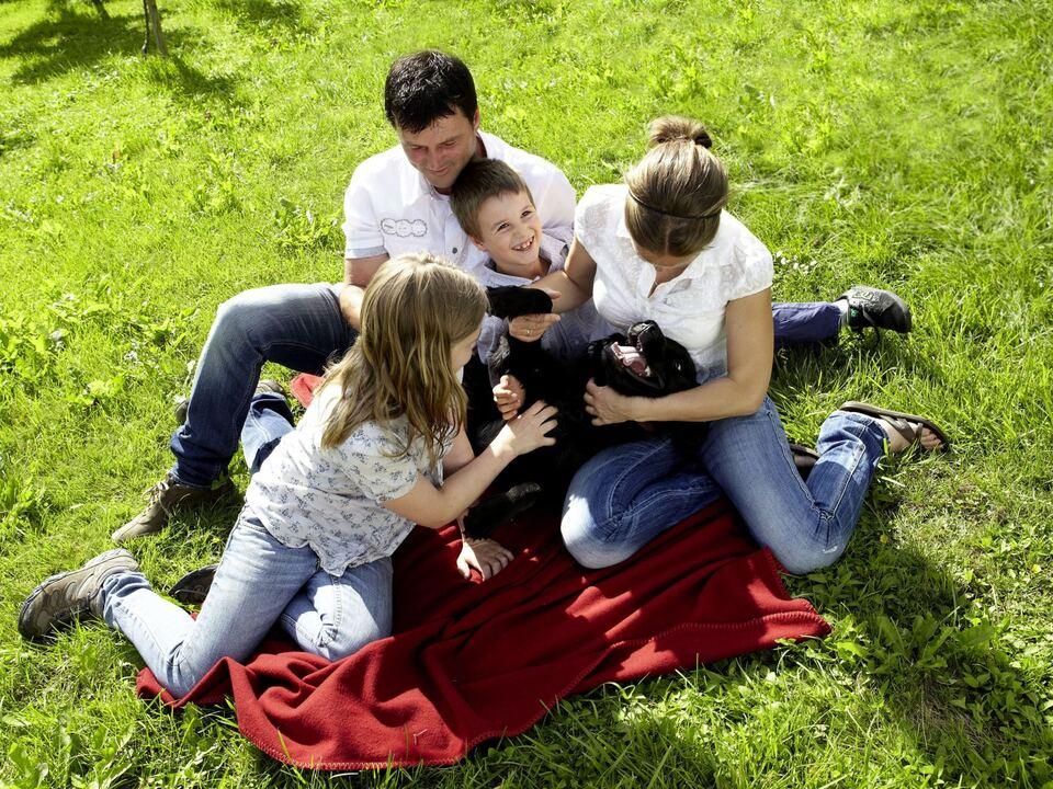 familie kinder wiese hund haustier