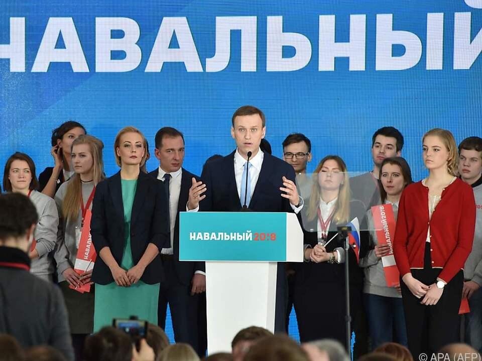 Alexej Nawalny am Sonntag bei der Versammlung in Moskau