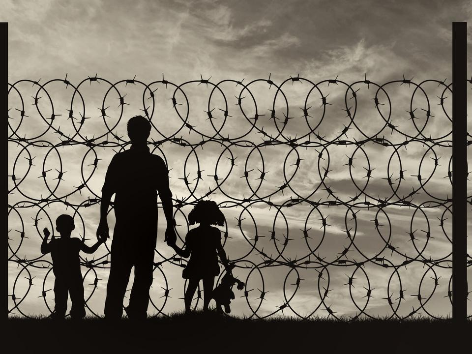 Flüchtlinge Familie Silhouette
