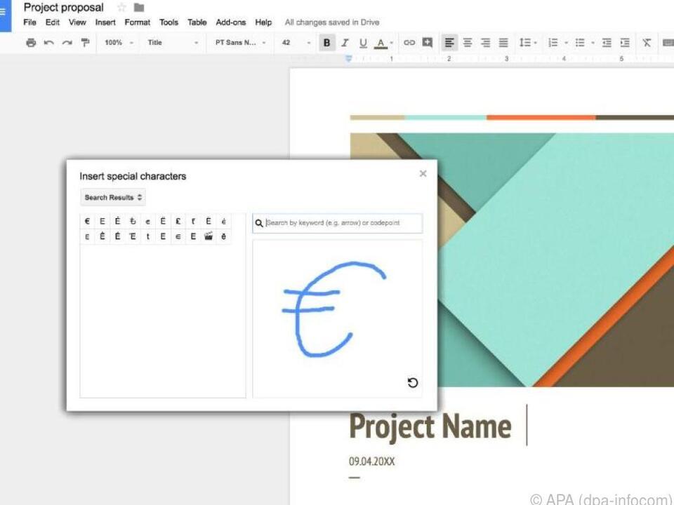 Google Docs erkennt Sonderzeichen, die per Skizze gesucht werden