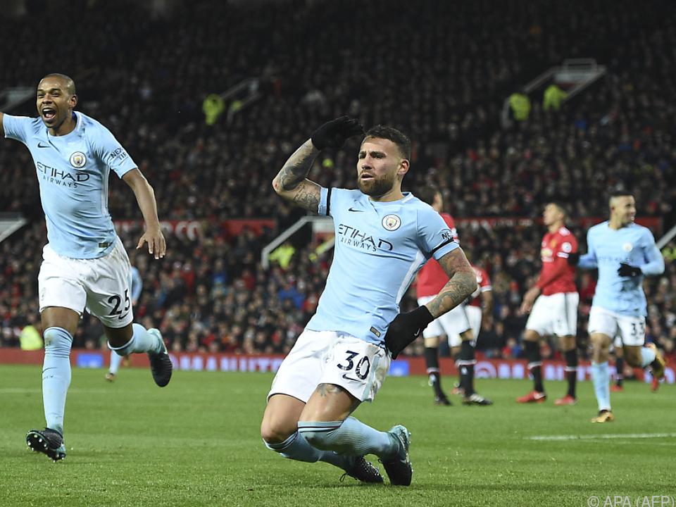 Verteidiger Nicolas Otamendi feiert sein Siegtor für Manchester City