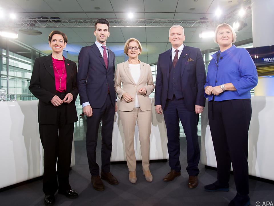 Diskussion der Spitzenkandidaten von Neos, FPÖ, ÖVP, SPÖ und Grünen