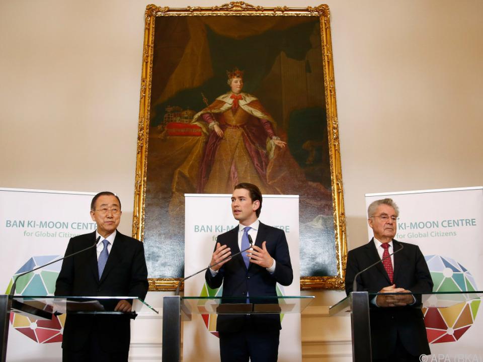 Ex-UNO-Generalsekretär Ban, Bundeskanzler Kurz und Ex-Bundespräsident Fischer
