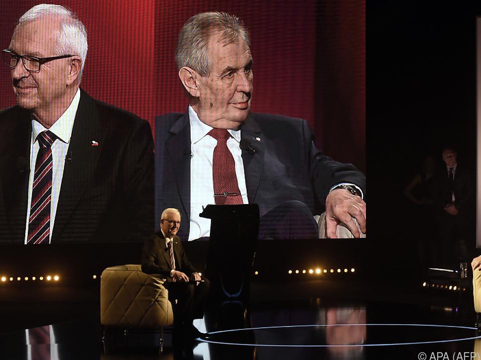 Jiri Drahos und Milos Zeman im TV-Duell am Tag vor der Stichwahl