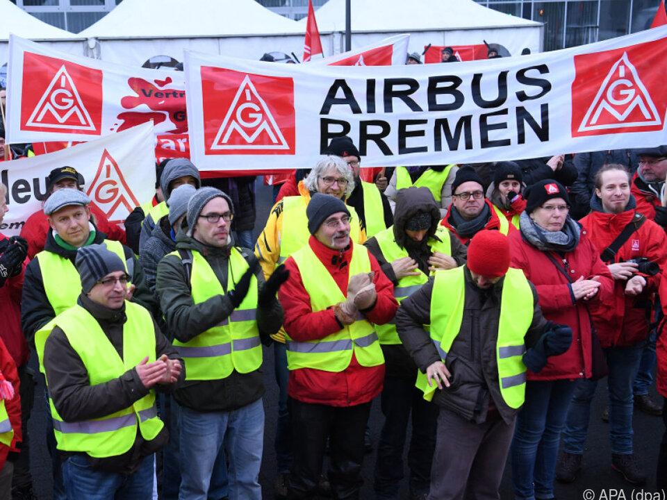 Airbus-Beschäftigte in Norddeutschland