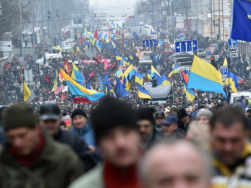 Anhänger von Michail Saakaschwili gingen in Kiew auf die Straße