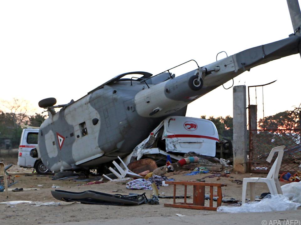 Der Hubschrauber stürzte kurz vor der Landung ab