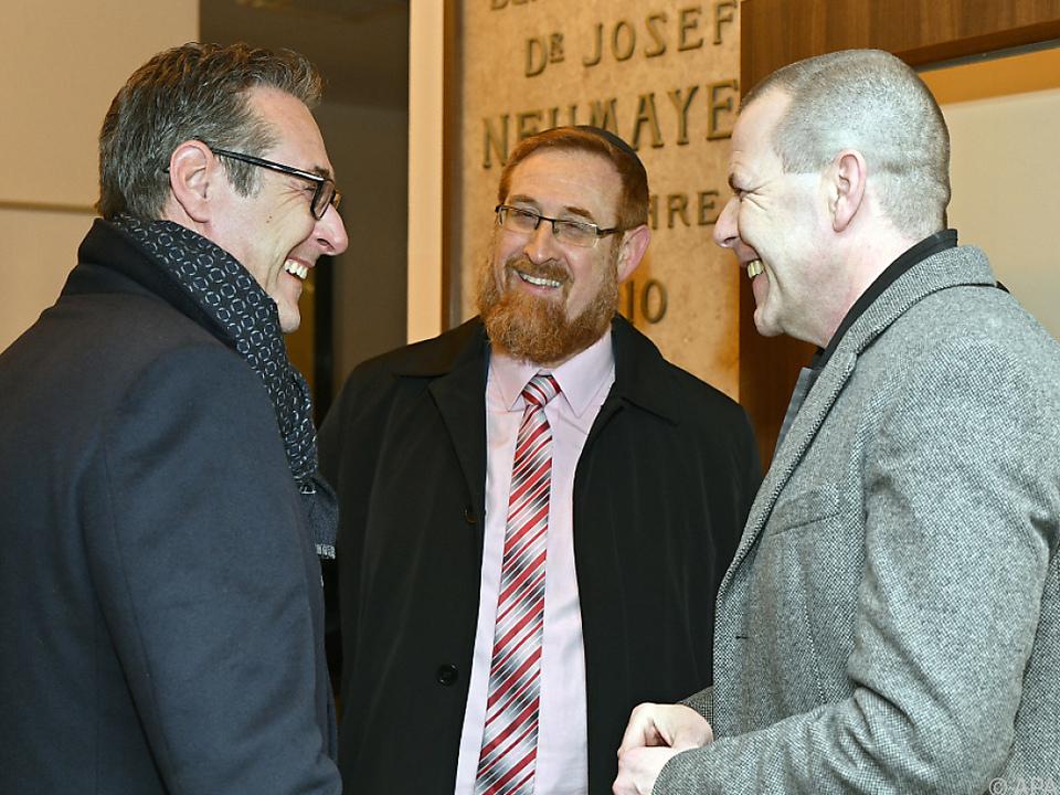 Strache und Vilimsky mit dem Knesset-Mitglied Yehudah Glick