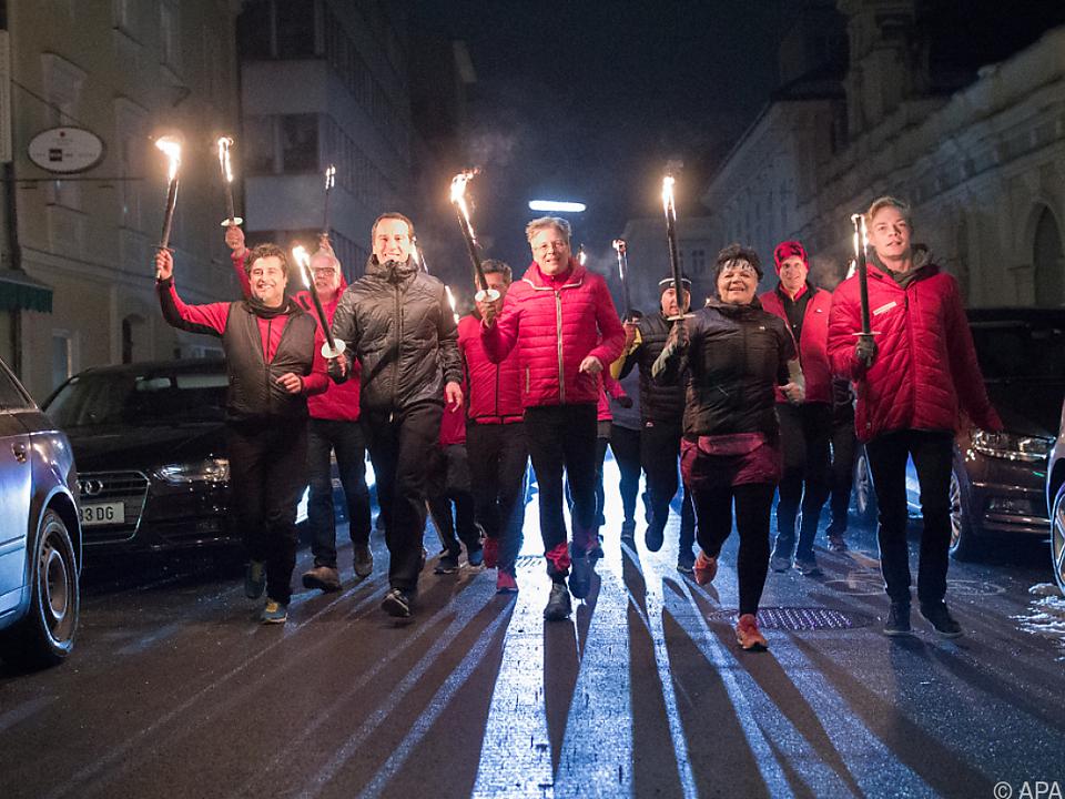 Fackellauf der SPÖ zum Abschluss des Landtagswahlkampfes