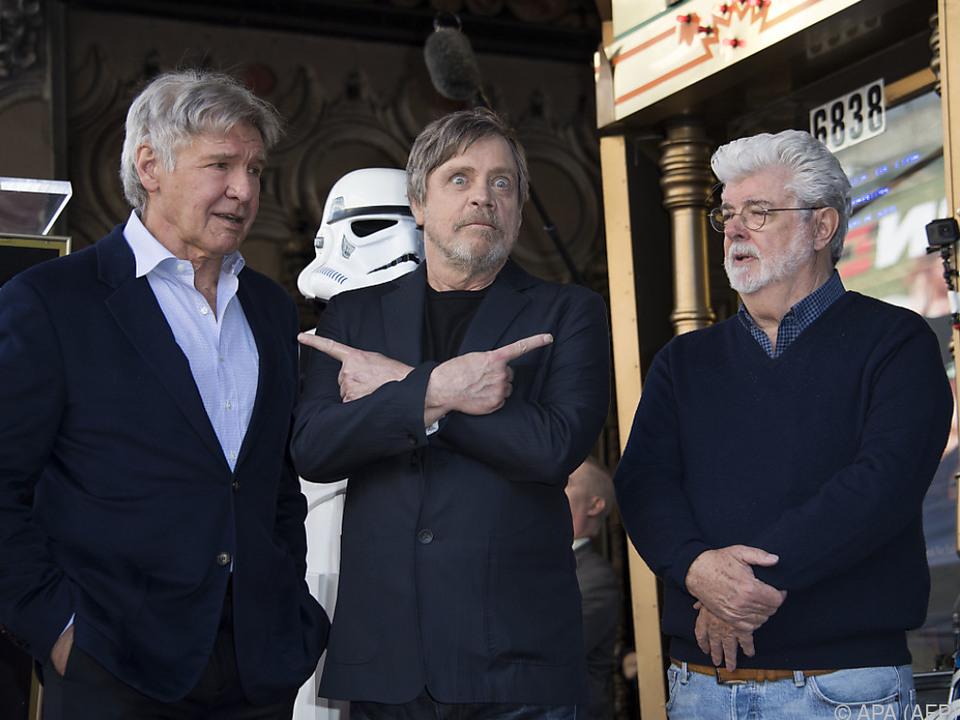 George Lucas mit seinen Helden Harrison Ford und Mark Hamill