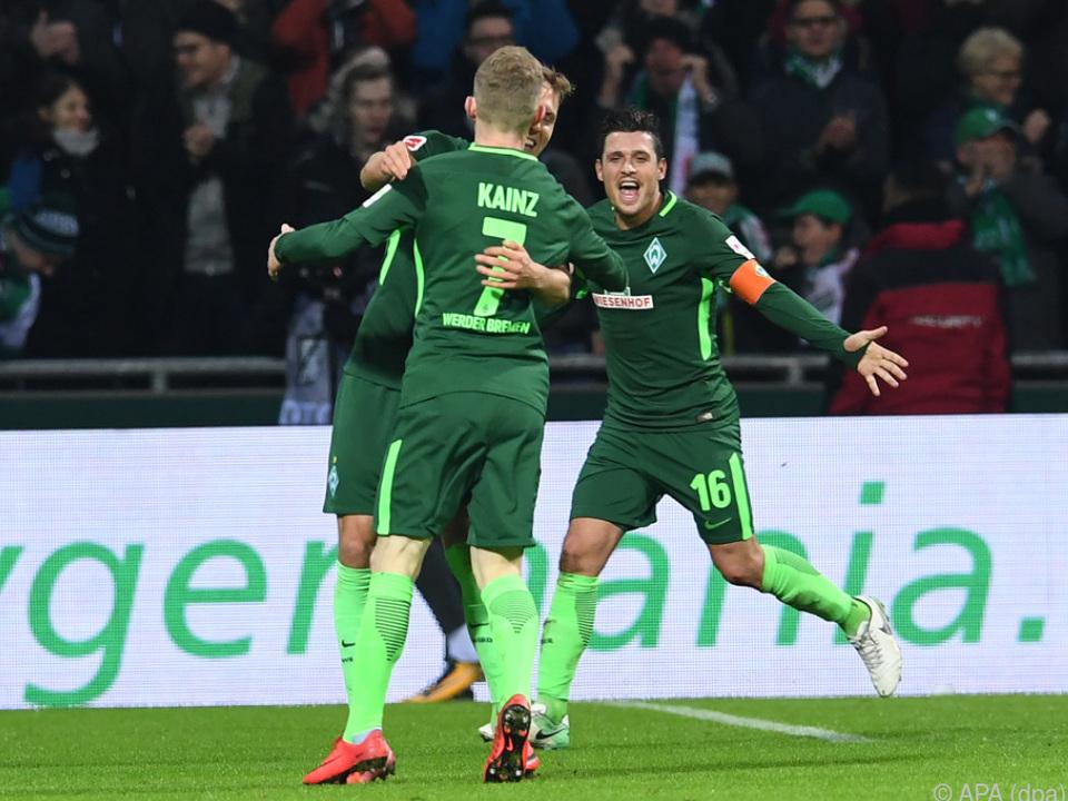 Jubel nach Werders Treffer zum 2:0