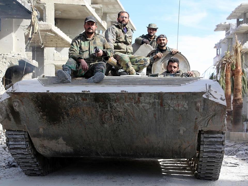 Syrische Regierungstruppen beim Einmarsch in Ost-Ghouta