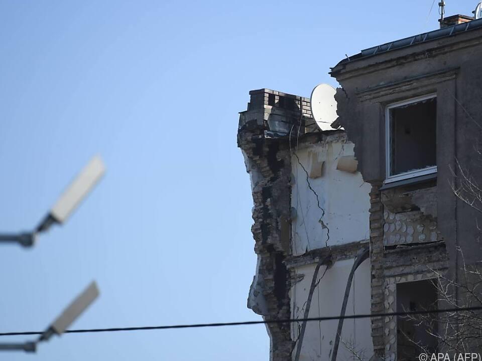 Teil des Wohnhauses in Posen eingestürzt