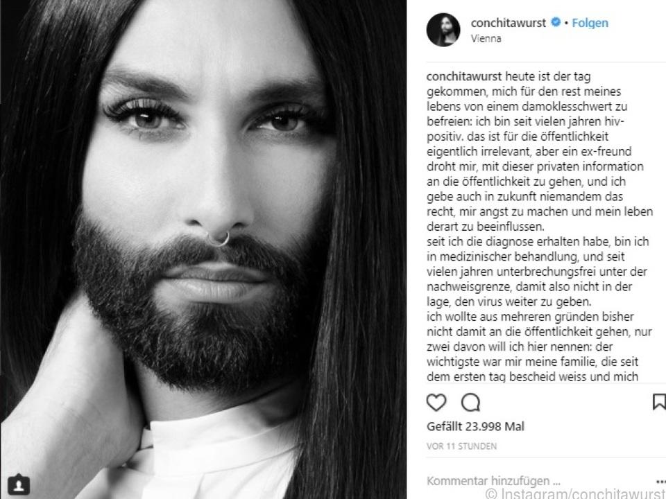 Conchita teilte die Nachricht auf Instagram mit