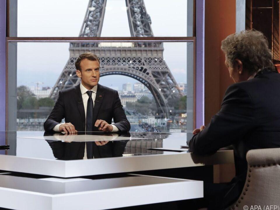 Emmanuel Macron im TV-Interview