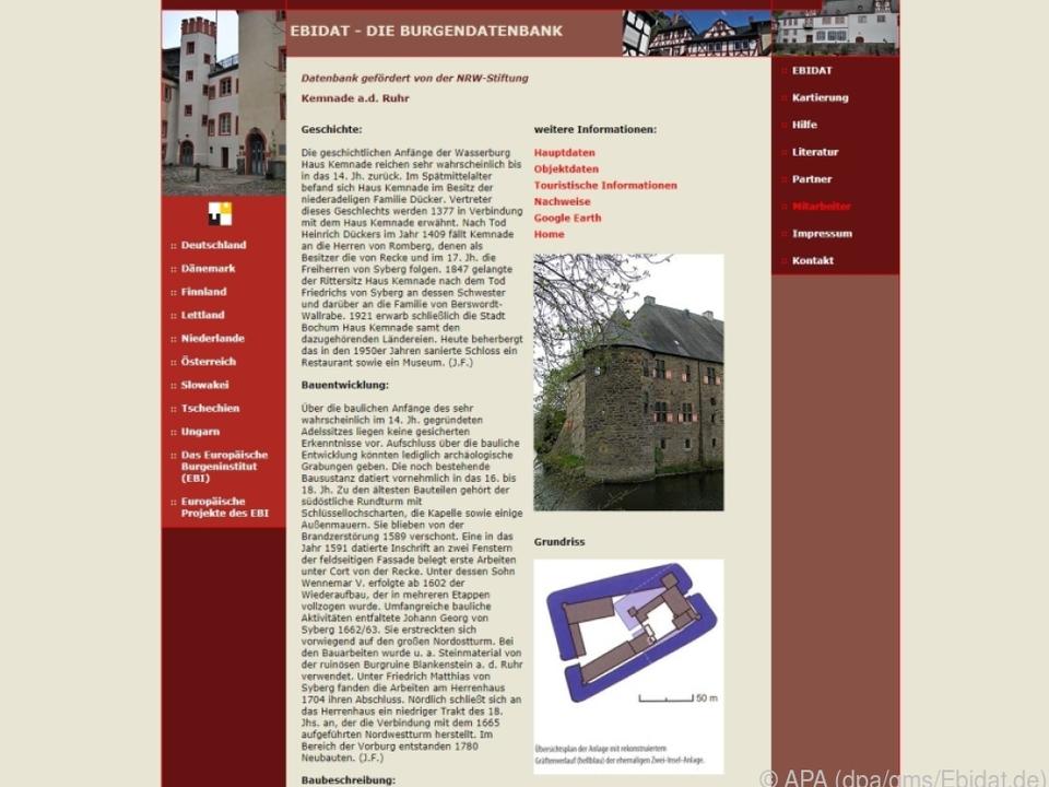 In der Ebidat-Datenbank gibt es Informationen zu etlichen Burgen in Europa