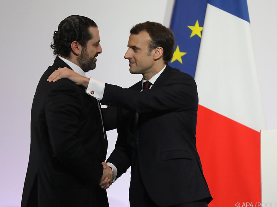 Macron und der libanesische Premier Hariri