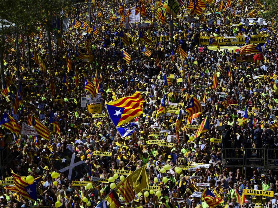 Massendemonstration im Herzen von Barcelona